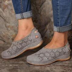 Femmes Similicuir Talon plat Chaussures plates Low Top avec Ouvertes chaussures