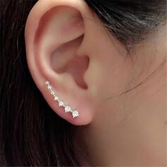 Brillant Simple Alliage Strass avec Strass Boucles d'oreilles 1 pc