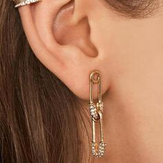 Brillant Épingle de sûreté Alliage Strass Boucles d'oreilles 2 PCS