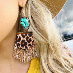 Brillant Leopard Alliage Strass Turquoise Cuir Femmes Boucles d'oreilles 2 PCS