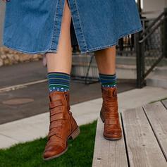 Femmes PU Talon bas Bottes mi-mollets bout rond avec Velcro Couleur unie chaussures