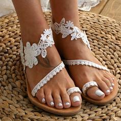 Femmes Similicuir Talon plat Chaussures plates avec Couture dentelle Une fleur chaussures