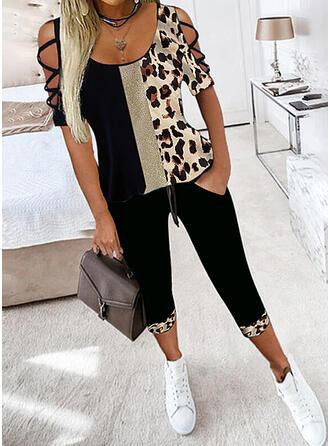 Leopard Color Block Plus Size Sexy Blouse & Two-Piece Outfits Set