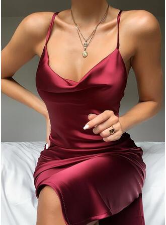 Couleur Unie Sans Manches Fourreau Longueur Genou Sexy/Fête Nuisette Robes
