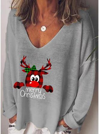 Imprimé Animal Figure Col V Manches Longues Décontractée Noël T-shirts