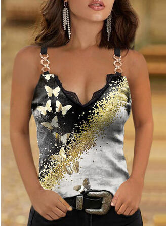 Print Butterfly Lace Spaghetti Straps Sleeveless Tank Tops