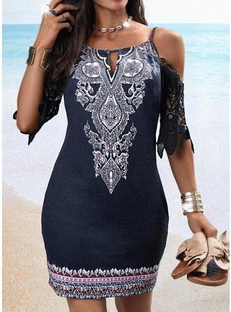 Lace/Print 1/2 Sleeves Sheath Above Knee Casual/Boho/Vacation Dresses