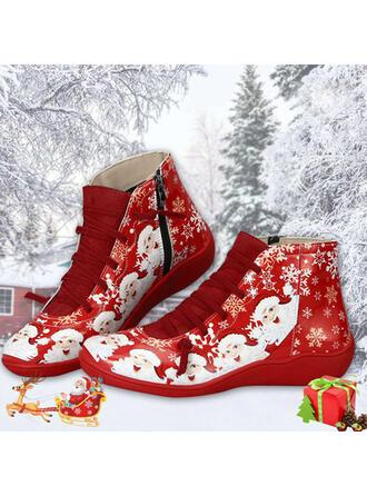 Femmes PU Talon plat Bottines bout rond Bottes d'hiver avec Dentelle Couleur d'épissure chaussures