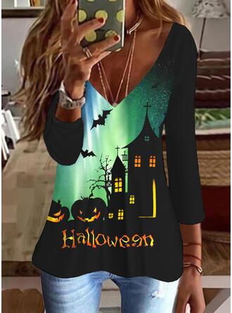 Halloween Print Letter Animal V-Neck 3/4 Sleeves T-shirts