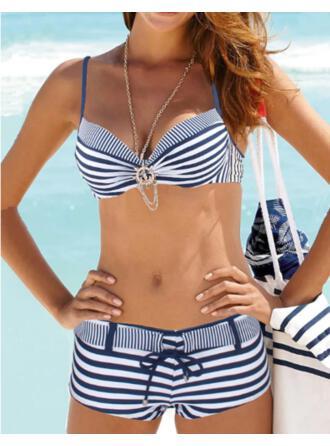 Stripe Lace Up Strap V-Neck Classic Bikinis Swimsuits