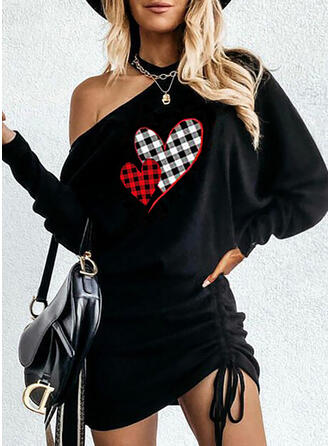 Print/Plaid/Heart Long Sleeves Bodycon Above Knee Casual Dresses