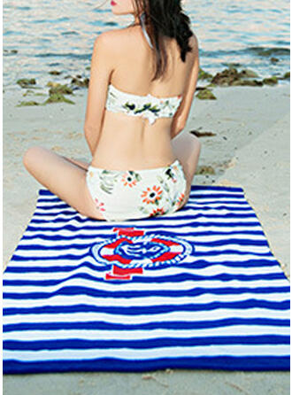 Rayé/Retro /Cru/Géométrique Confortable/Multi-fonctionnel/Sans sable/Séchage rapide serviette de plage