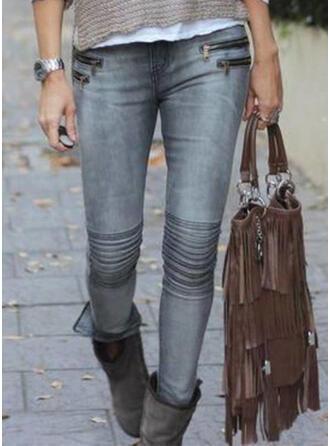 Les poches Froncé Grande taille Longue Sexy Maigre Pantalon Jeans