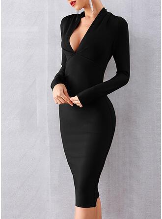 Couleur Unie Manches Longues Moulante Longueur Genou Petites Robes Noires/Fête/Élégante Crayon Robes