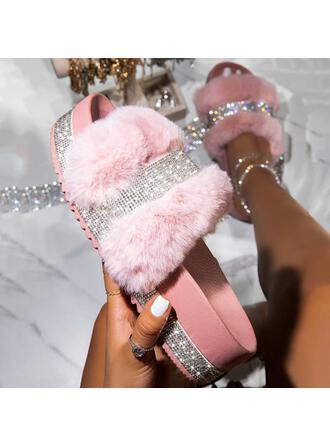 Femmes Similicuir Pailletes scintillantes Talon plat Sandales Plateforme À bout ouvert Chaussons avec Strass Fourrure chaussures