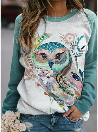Floral Print Animal Round Neck Long Sleeves T-shirts
