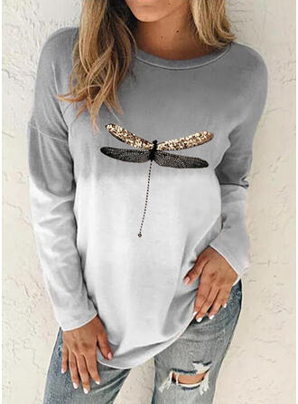 Print Color Block Animal Round Neck Long Sleeves Sweatshirt