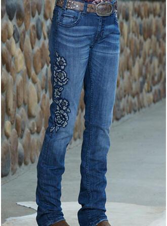 Broderie Froncé Grande taille Longue Élégante Sexy Maigre Jeans