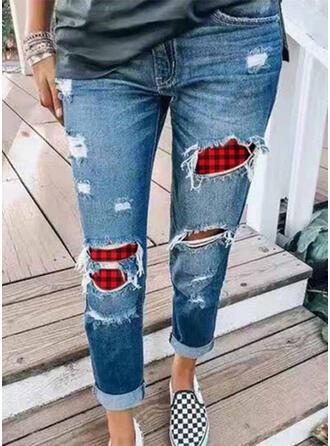 Patchwork Carreaux Grande taille Déchiré Longue Décontractée Maigre Jeans