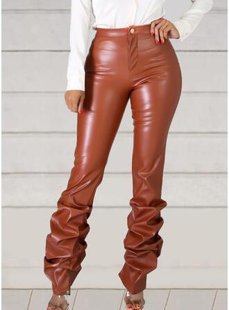 Couleur Unie Froncé Longue Sexy Cuir Style Vintage Pantalon