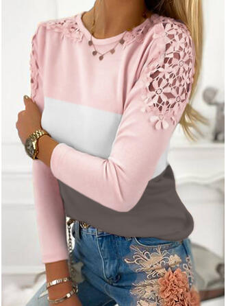 Color Block Lace Round Neck Long Sleeves Elegant Blouses