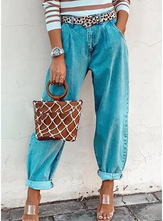 Les poches Froncé Grande taille Longue Décontractée Plaine Jeans