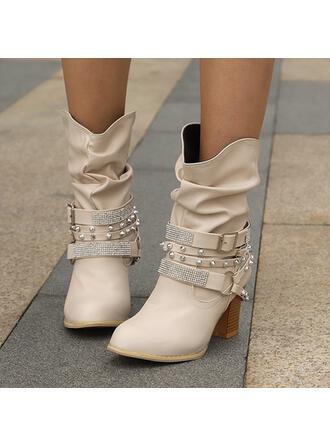 Femmes Similicuir Talon bottier bout rond avec Rivet Boucle Couleur unie chaussures