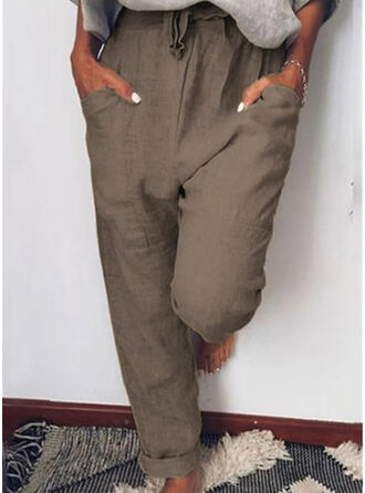 Couleur Unie Froncé Cordon Longue Décontractée Couleur Unie Pantalon