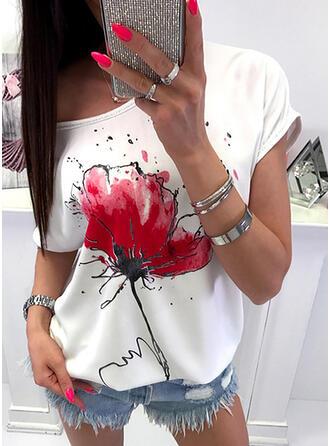 Fleurie Col Rond Manches Courtes Décontractée T-shirts
