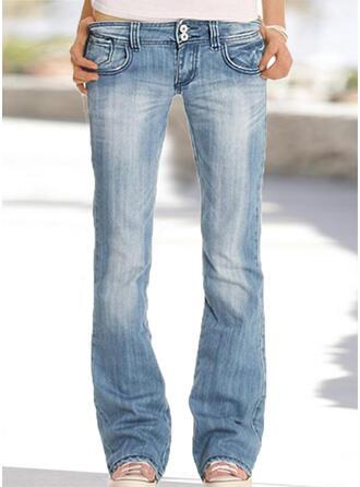 Solid Long Pants Denim & Jeans