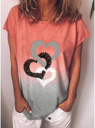Gradient Heart Print Round Neck Short Sleeves T-shirts