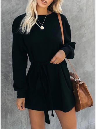 Couleur Unie Manches Longues Trapèze Au-dessus Du Genou Petites Robes Noires/Décontractée/Élégante Patineuse Robes