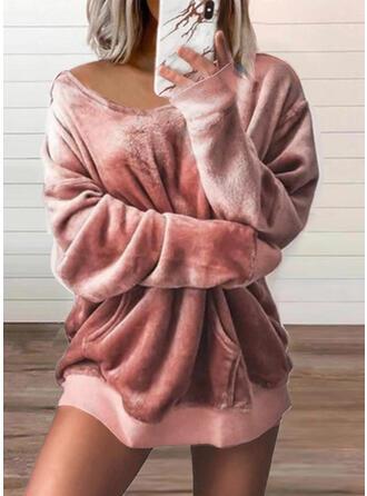 Solid Velvet V-Neck Long Sleeves Sweatshirt