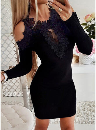 Solid Lace Long Sleeves Cold Shoulder Sleeve Bodycon Above Knee Little Black/Casual Sweater Dresses