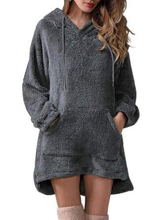 Couleur Unie Manches Longues Droite Au-dessus Du Genou Petites Robes Noires/Décontractée Robe Sweat Robes