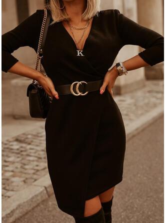Couleur Unie Manches Longues Fourreau Au-dessus Du Genou Petites Robes Noires/Décontractée Robes