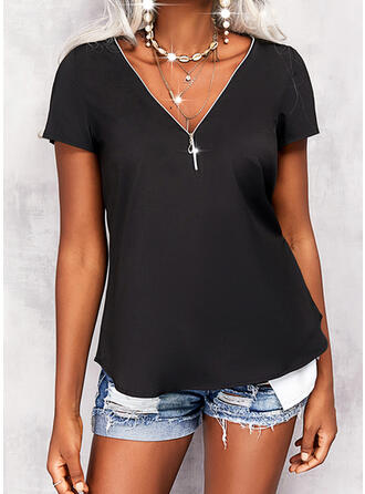 Solid V-Neck Short Sleeves Casual Blouses