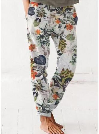 Floral Print Leaves Linen Cotton Long Casual Vacation Pocket Lounge Pants