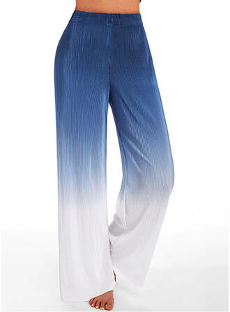 Color Block Long Casual Sporty Shirred Lounge Pants