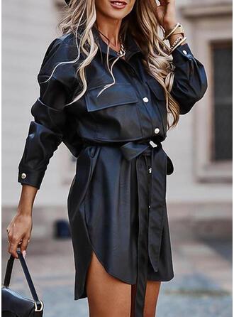 Couleur Unie Manches Longues Fourreau Au-dessus Du Genou Petites Robes Noires/Décontractée Chemise Robes
