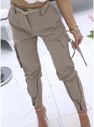 Couleur Unie Les poches Froncé Décontractée Sexy Tribal Pantalon