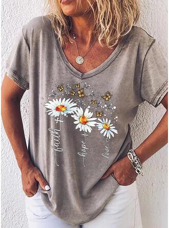 Animal Print Floral Letter V-Neck Short Sleeves T-shirts