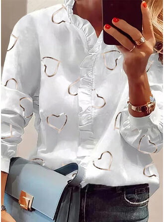 Print Heart Stand collar Long Sleeves Elegant Blouses