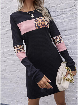 Print/Color Block/Leopard Long Sleeves Sheath Knee Length Casual Dresses