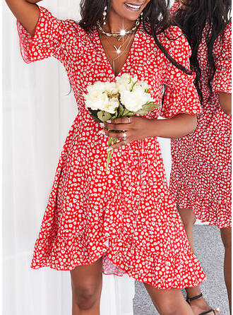Print 1/2 Sleeves Puff Sleeve A-line Above Knee Casual Skater Dresses