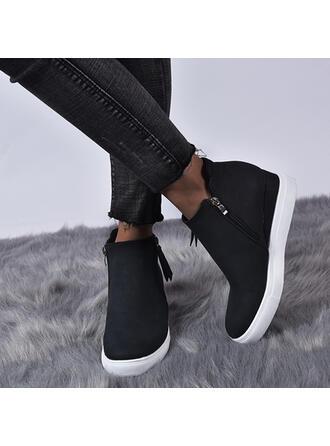 Femmes Similicuir Talon plat Bottines avec Zip chaussures