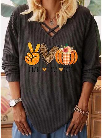 Print Heart V-Neck Long Sleeves Casual Halloween Knit Blouses