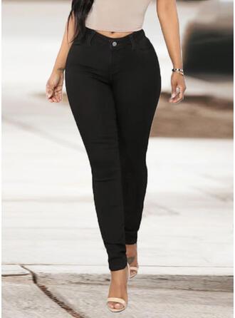 Couleur Unie Les poches Grande taille Longue Élégante Sexy Jeans