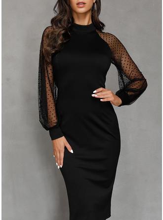 Couleur Unie Manches Longues Fourreau Petites Robes Noires/Fête Midi Robes