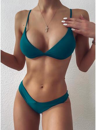 Couleur Unie Taille Basse À Bretelles Col V Sexy Bikinis Maillots De Bain